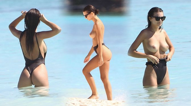 Emily Ratajkowski – Topless Candids in Cancun