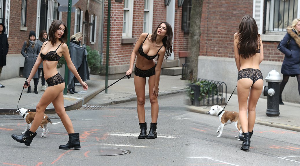 Emily Ratajkowski - DKNY Lingerie Photoshoot Candids in New York