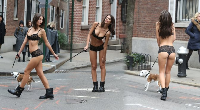 Emily Ratajkowski – DKNY Lingerie Photoshoot Candids in New York