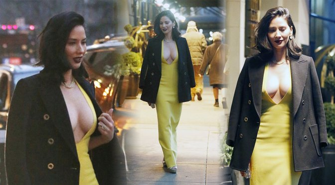 Olivia Munn – Cleavage Candids in New York