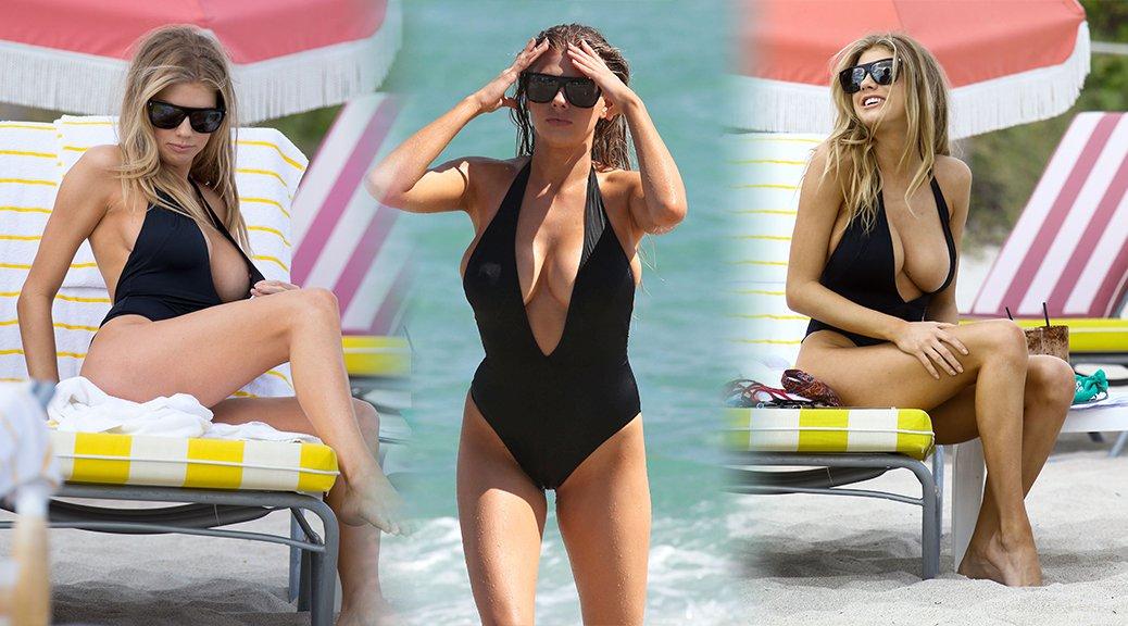 Charlotte McKinney - Bikini Candids in Miami (Nipslip)