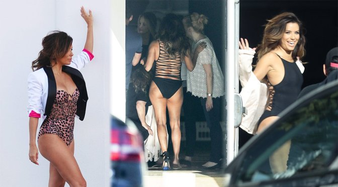 Eva Longoria – Swimsuit Photoshoot Candids in Los Angeles