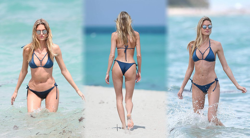 Martha Hunt - Bikini Candids in Miami