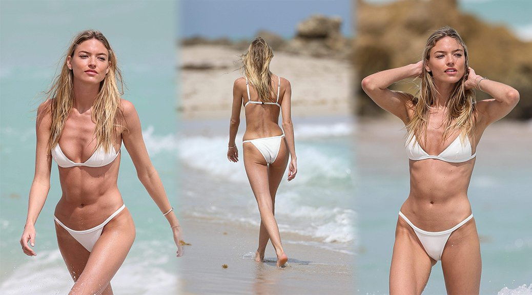Martha Hunt - Bikini Candids in Miami Beach