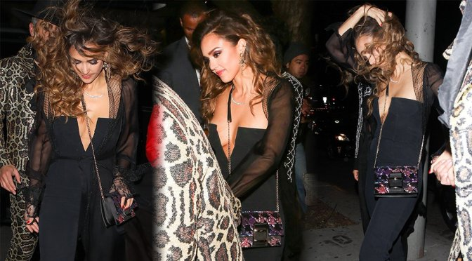 Jessica Alba - sexy cleavage at her birthday party - Leaves Peppermint Club in West Hollywood