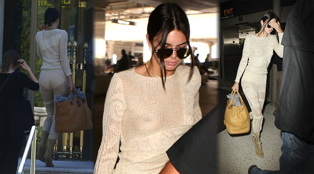 Kendall Jenner - Braless See-Through Candids in Antibes