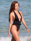 Xenia Deli - sexy boobs - Swimsuit photoshoot on a beach in Miami