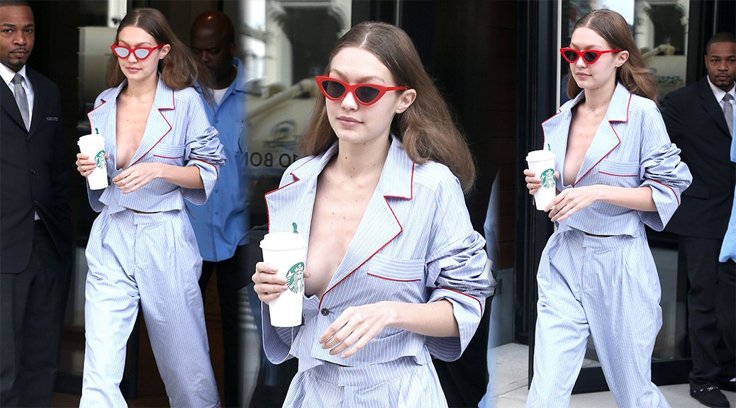 Gigi Hadid - Braless Candids in New York