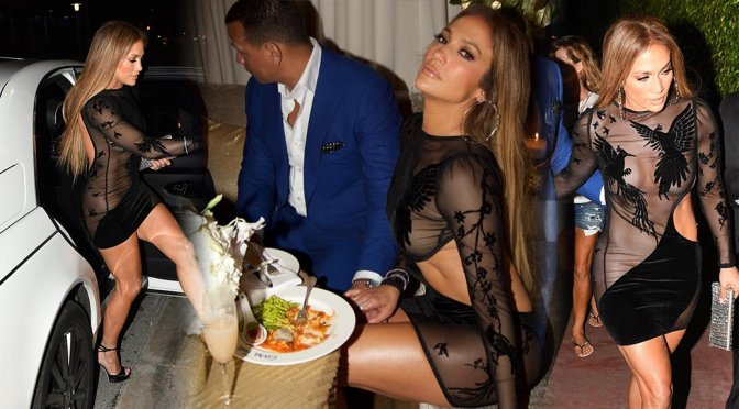 Jennifer Lopez – Braless See-Through Candids in Miami