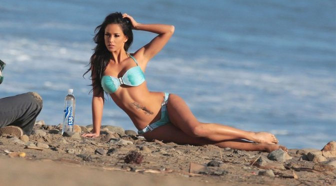 "Melissa Riso – ""138 Water"" Bikini Photoshoot Candids in Malibu"