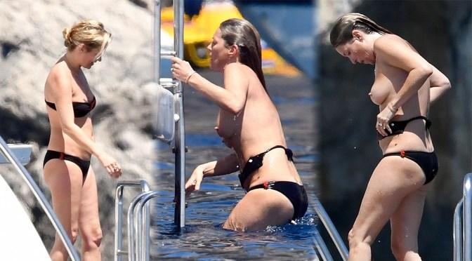 Kate Moss – Topless Bikini Candids in Italy