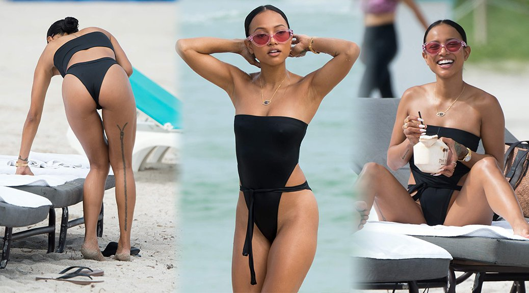 Karrueche Tran - Swimsuit Candids in Miami
