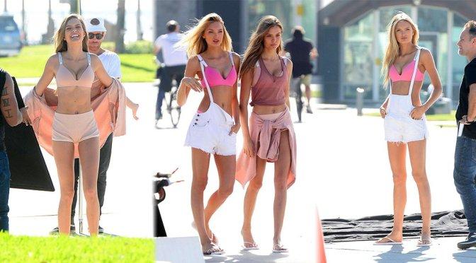 Josephine Skriver & Romee Strijd – Victoria's Secret Photoshoot Candids in Venice Beach