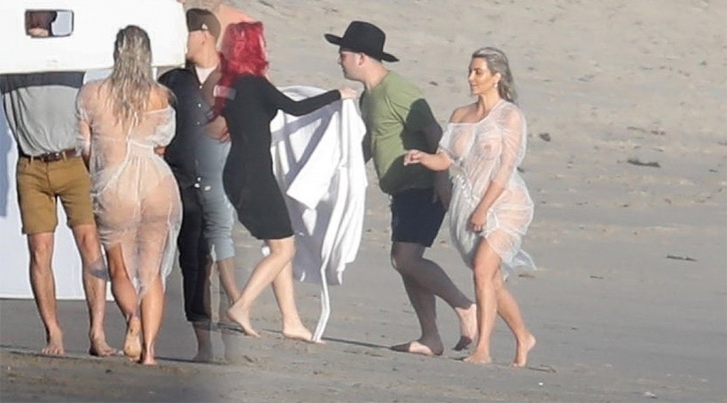 Kim Kardashian - Braless See-Through Photoshoot Candids in Malibu