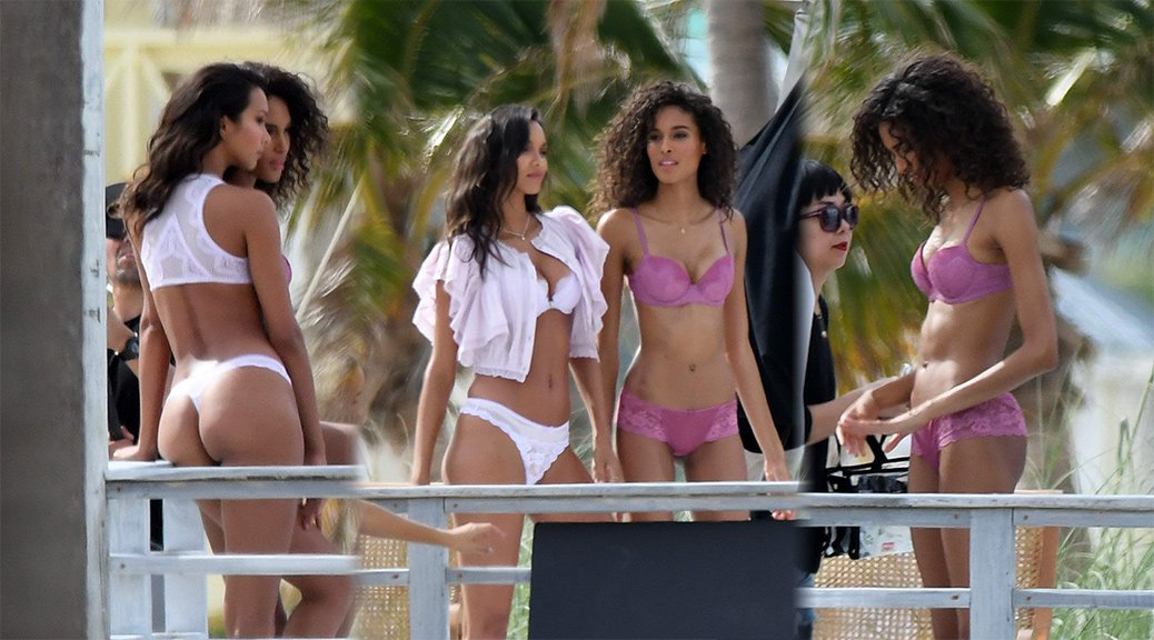 Lais Ribeiro & Cindy Bruna - Lingerie Photoshoot Candids in Miami
