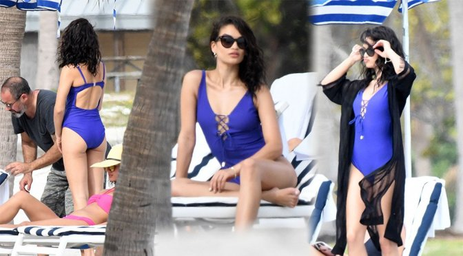 Shanina Shaik – Swimsuit Photoshoot Candids in Miami