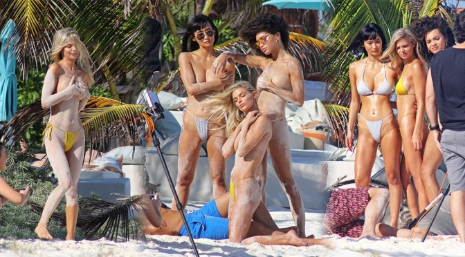 Danielle Knudson – H&M Topless Photoshoot Candids in Tulum