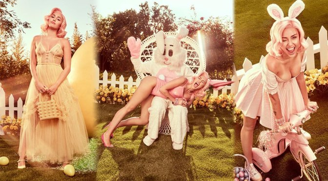 Miley Cyrus Sexy Boobs In Easter Photoshoot