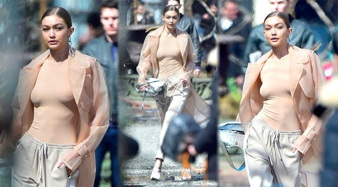 Gigi Hadid – Braless Photoshoot Candids in New York