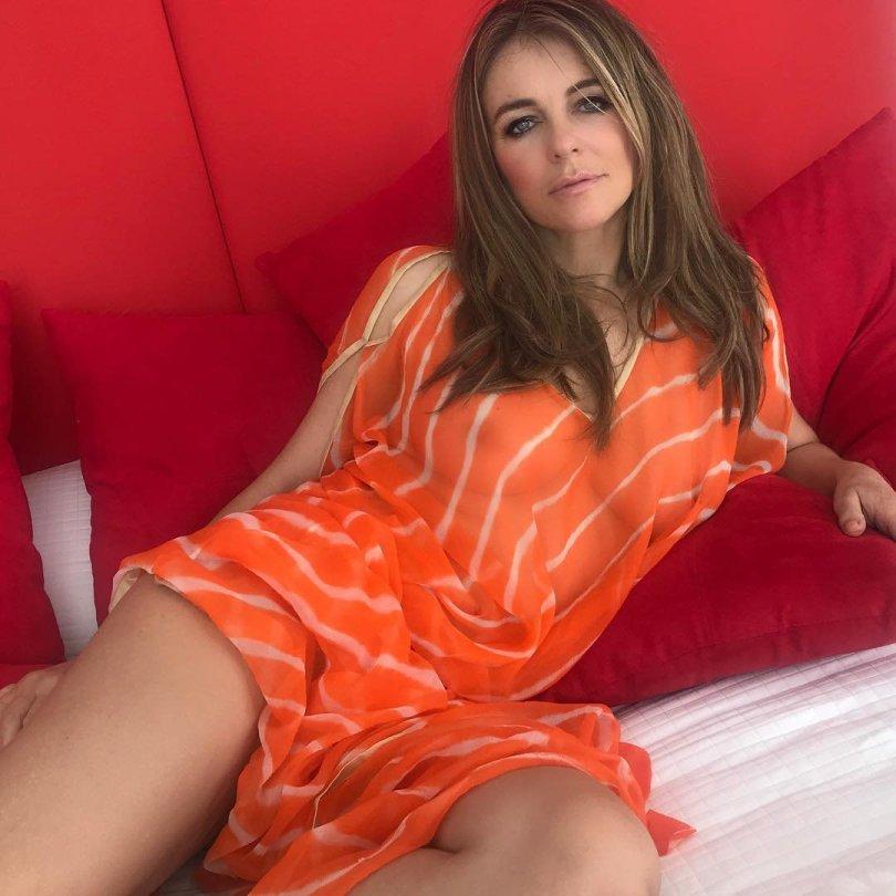 Elizabeth Hurley Boobs Seethrough Dress