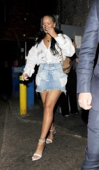 Rihanna Denim Mini Skirt