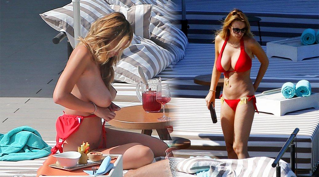 Rhian Sugden - Topless Bikini Candids in Ibiza