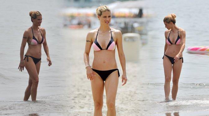 Michelle Hunziker – Bikini Candids in Italy