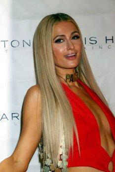 Paris Hilton Sexy Low Cut Red Dress