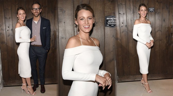 Blake Lively Showing Off Her Body In Tight White Dress