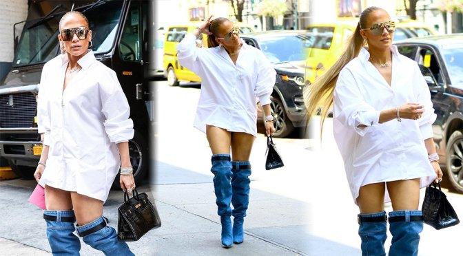 Jennifer Lopez – Leggy Candids in New York