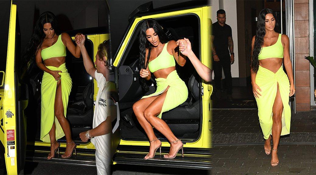 Kim Kardashian - Upskirt Candids in Miami
