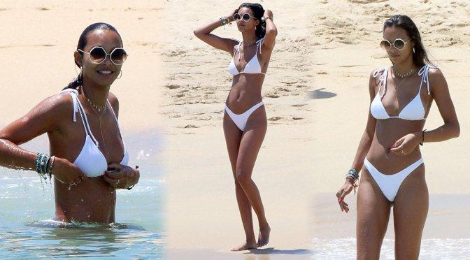 Lais Ribeiro Sexy White Bikini