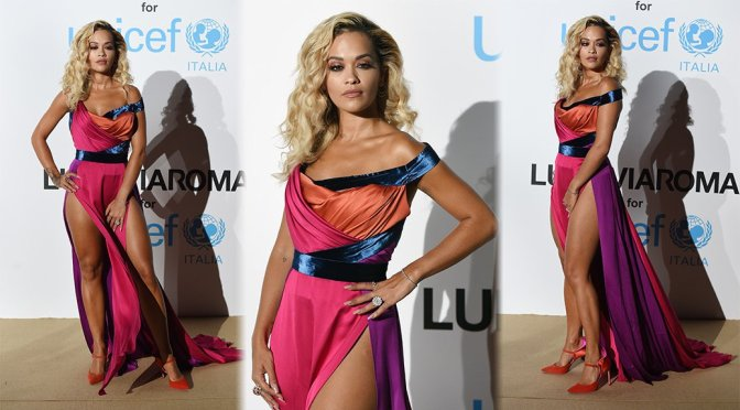Rita Ora Sexy Almost Upskirt Dress