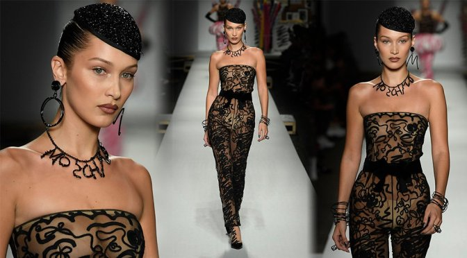 Bella Hadid – Braless See-Through at Moschino Fashion Show in Milan