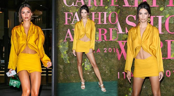 Emily Ratajkowski – Green Carpet Fashion Awards Italia in Milan (Upskirt)
