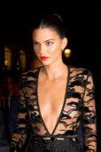 Kednall Jenner Braless In Sheer Black Dress