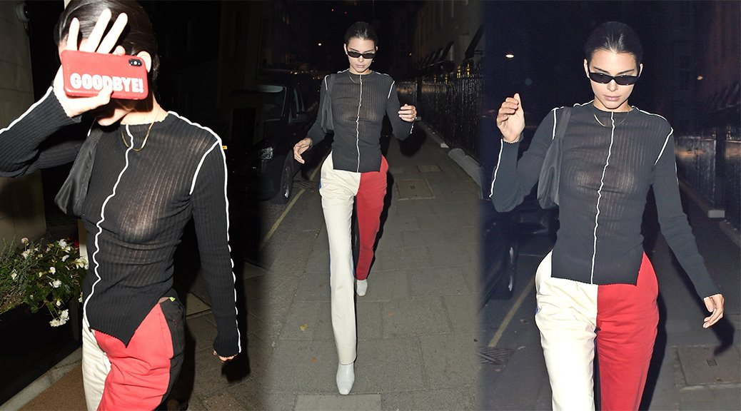 Kendall Jenner - Braless Candids in London