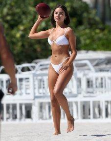 Olivia Culpo Sexy White Bikini