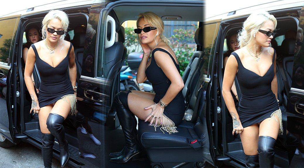Rita Ora - Upskirt Candids in Milan