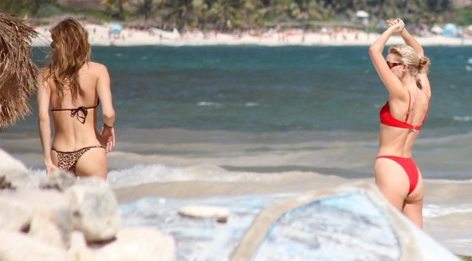 Elsa Hosk & Martha Hunt – Bikini Candids in Tulum