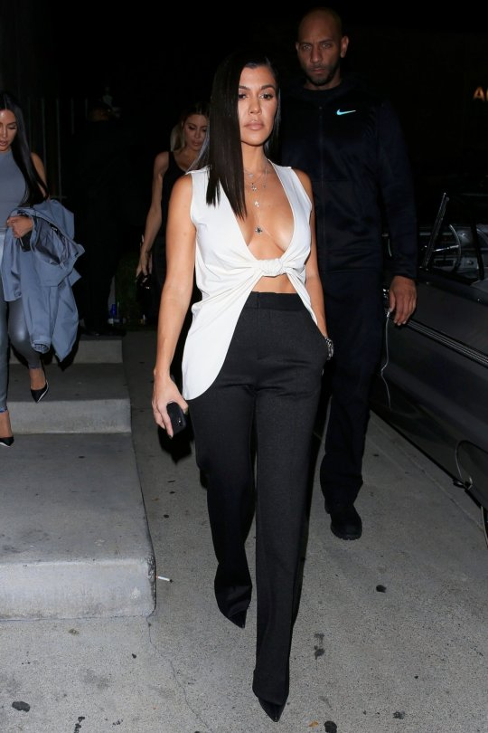 Kourtney Kardashian Braless Huge Cleavage