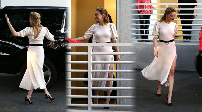 Amber Heard at Univision Headquarters in Miami