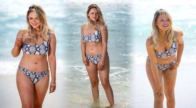 Emily Atack – Bikini Photoshoot Candids at Surfers Paradise in Queensland