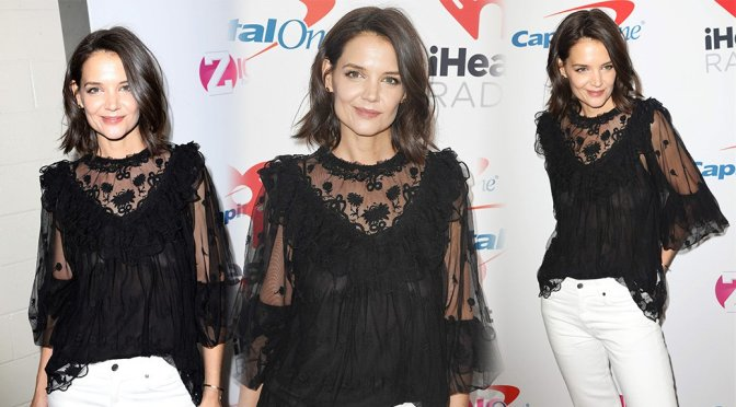Katie Holmes Braless Showing Off Her Boobs
