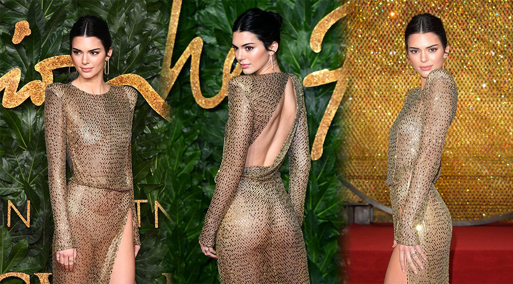 Kendall Jenner - Braless See-Through at British Fashion Awards in London