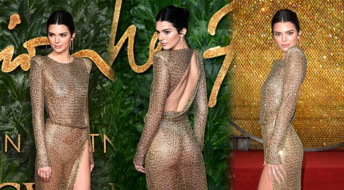 Kendall Jenner – Braless See-Through at British Fashion Awards in London
