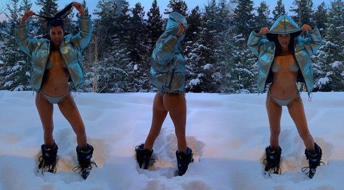 Kourtney Kardashian – Bikini Photoshoot in Alps