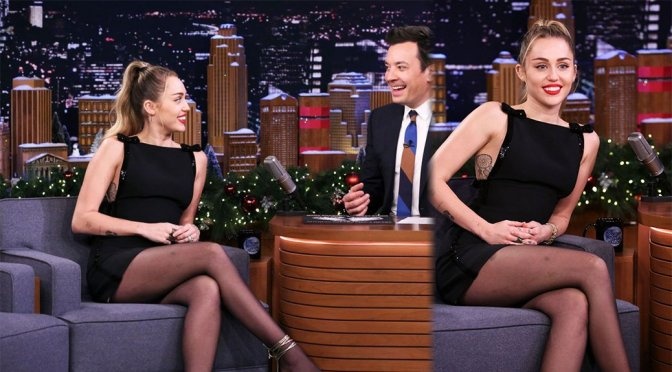 "Miley Cyrus on ""Tonight Show Starring Jimmy Fallon"" in Los Angeles"