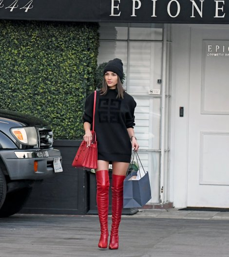 Olivia Culpo Red Sexy Boots