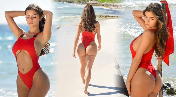 Demi Rose Mawby – Red Swimsuit Photoshoot Candids in Tulum